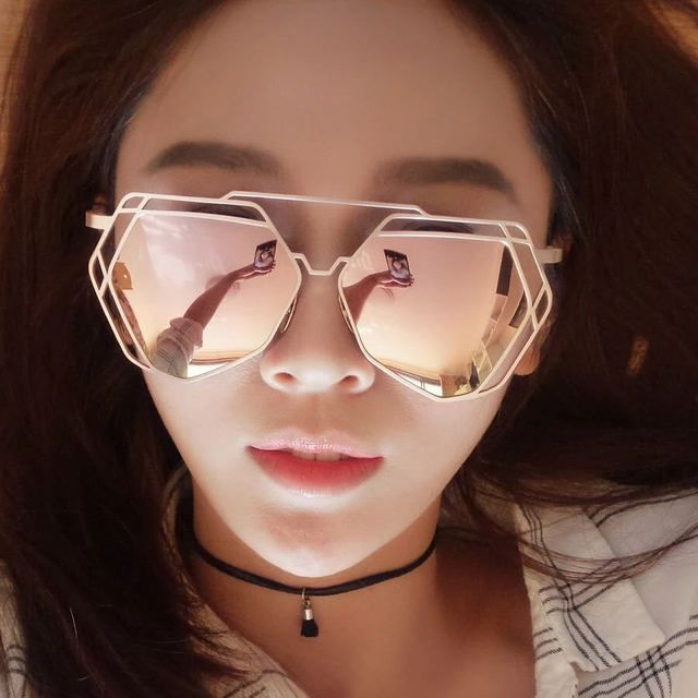 10pcs/lot GM Women Sunglasses Hollow Out Irregular Polygon Metal Frame Designer Ourdoor Driving Women Sunglasses