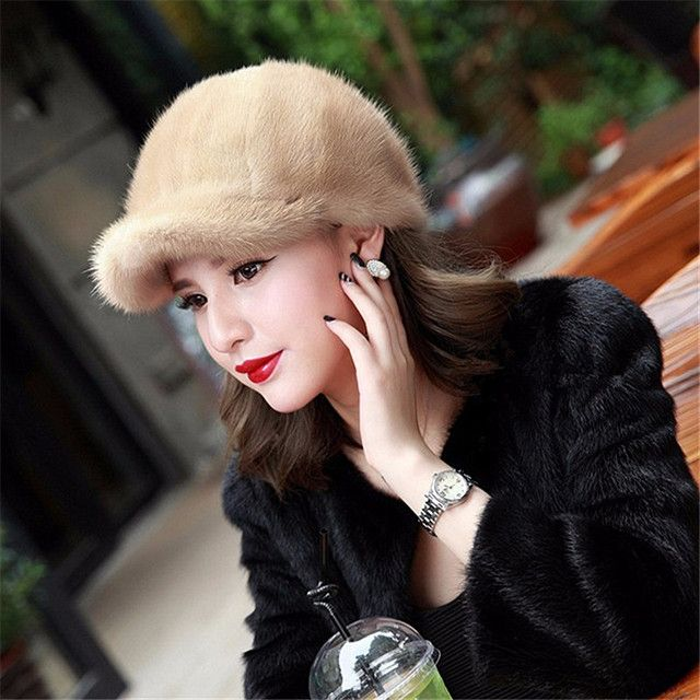 Genuine Winter 2015 Mink Fur Hat cap in women clothing Fur Headdress Warm Fashion Cap Hats Headgear