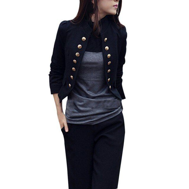 Women Autumn Casual Coat  Short Coat Suit Slim Long Sleeve Jacket Outerwear Work Open Stitch Wear
