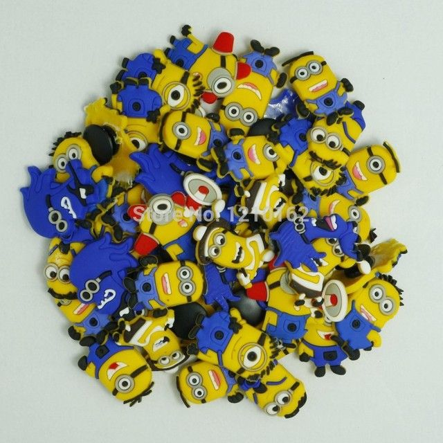 Free Shipping  50pcs Minions Shoe Charms Accessories Decoration with Buckles For Wristbands Braclets Kids Gift