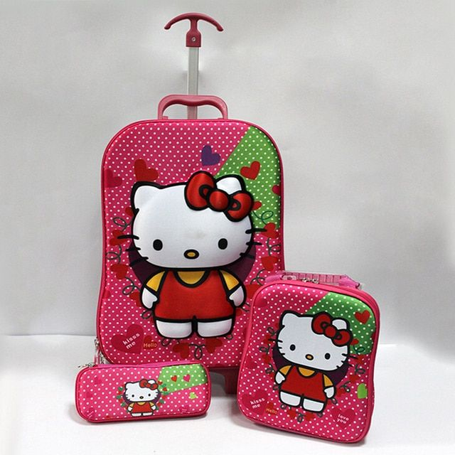 New children school bag hello kitty burdens trolley school bags for girls cartoon cute luggage three-piece waterproof