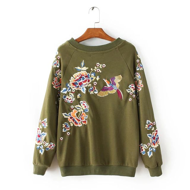 Women Army Green Embroidery Sweatshirt Fashion Round Neck Long Sleeve Autumn Pullover Casual hoodie sudaderas mujer 2016 FHWM89