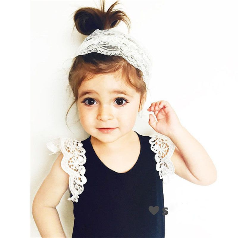 Infant Toddlers Kids Cotton T-Shirt Baby Girls Princess Lace Short Sleeve Summer Tops for Girls