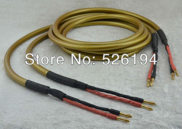Free shipping pair Cardas Hexlink Gold Five Hi Fi Speaker cable with 24K gold plated banana plug