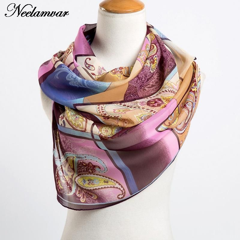 fashion women's chiffon cashew scarves new arrival 2019 Autumn and Winter casual wraps echarpe long silk feeling scarf ladies