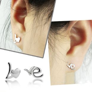 925 pure silver stud earring fashion personality lovers love letter earrings accessories male birthday gift