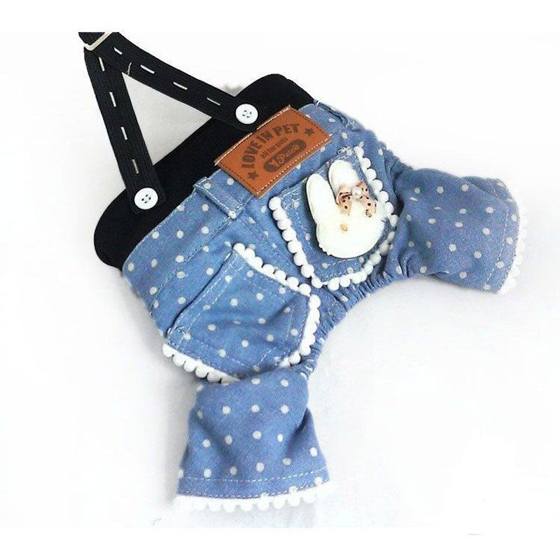 Spring Summer Pet Dog Clothing Dot Blue Dog Jumpsuits Dog Jeans Pants Overalls Jumpsuit For chihuahua Small Dogs Clothes S15