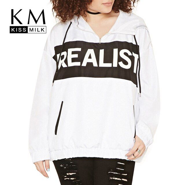 Kissmilk Plus Size Fashion Women Clothing Loose Letter Print Street Wear Big Size Hoddies Solid Long Sleeve Loose Tops 3XL-6XL