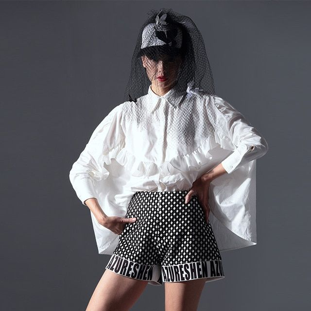 [TWOTWINSTYLE] Original Summer Personalized Ruffles Design Asymmetric T shirt Women New Fashion Clothing