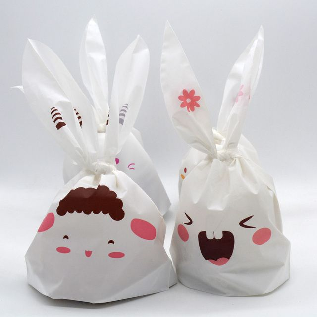20 pcs Cute White Rabbit Ear Print Cookie Plastic Bags Birthday Wedding Candy Biscuit Chocolate Packaging Paper Gift Bags PB012