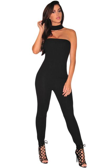 Sleeveless Elegant Jumpsuit Long Black (3 Colors) Strapless Choker Fitness Jumpsuit Rompers Overalls LC64042 Combinaison Femme