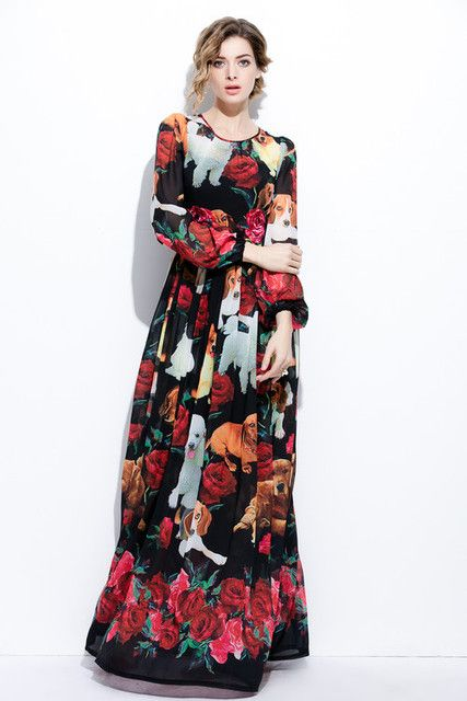 XXXXL Fashion Plus Size Long Maxi Dress 2017 Summer Women Cute Dog Rose Floral Print Long Sleeve Maxi Dress Extra Large Clothing