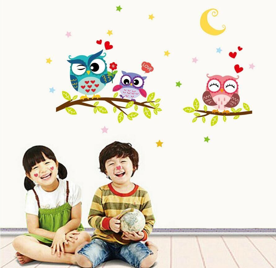 Creative Night Moon Animals Owl Tree Branch DIY Removable Wall Stickers Kids Room Living Room Backdrop Mural Decal Home Decor