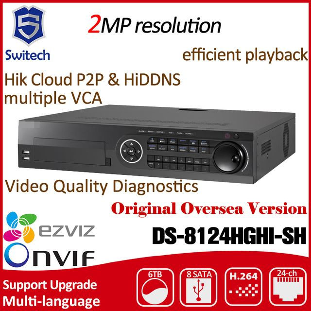 2017 Hikvision English version DS-8124HGHI-SH original 24 channel TURBO HD DVR HDTVI analog cameras Video Audio stock RJ45 RS485