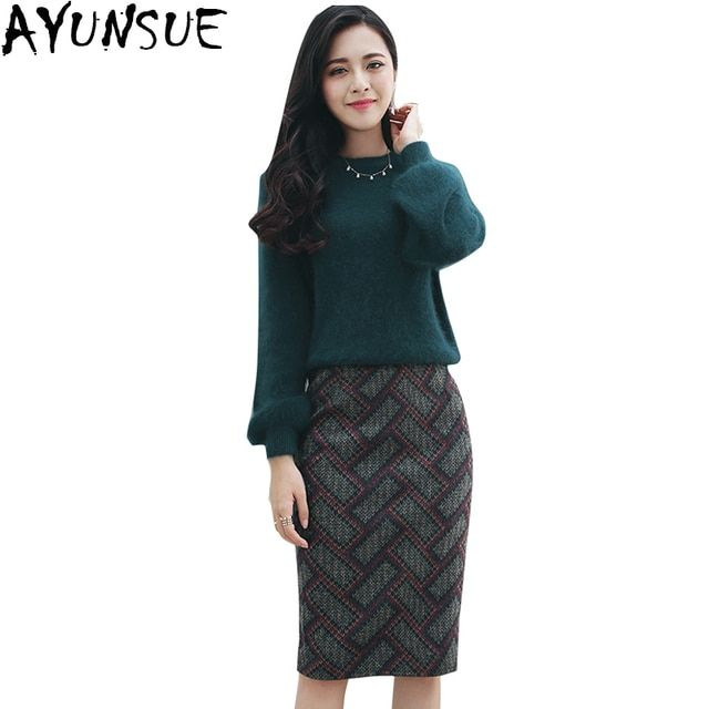 AYUNSUE New 2016 woolen long-sleeved winter dress women sweater Dress two-piece Plaid Dresses package hip Dress Plus Size LX545