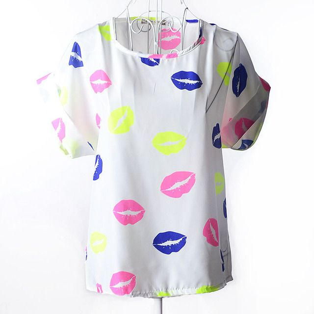 Short Women Shirt Blusas Feminine Blouse Plus Size O-neck Collar Female Clothing Pullover Print Chiffon Casual Tops RY0336