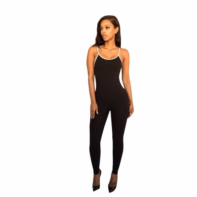 Womens 2016 Elegant Summer Bodycon Jumpsuit Rompers Fashion Ladies O Neck Spaghetti Strap Backless Casual Party Club Bodysuit