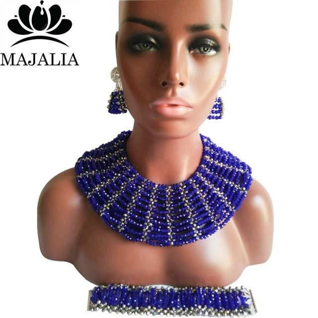 Fashion african beads jewelry set blue Nigeria Wedding Crystal necklace Bridal Jewelry sets Free shipping VV-016