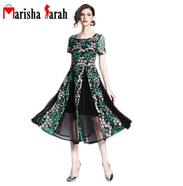Summer Runway Designer Womens Sexy Dresses Vintage Embroidery Green Flower Black Lace Mid-Calf Length Event Party Dress Vestidos