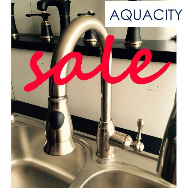 Free Shipping AQUACITY| Pull Down with 2 Function with on-off button Spray Brushed Nickel  Kitchen Faucet