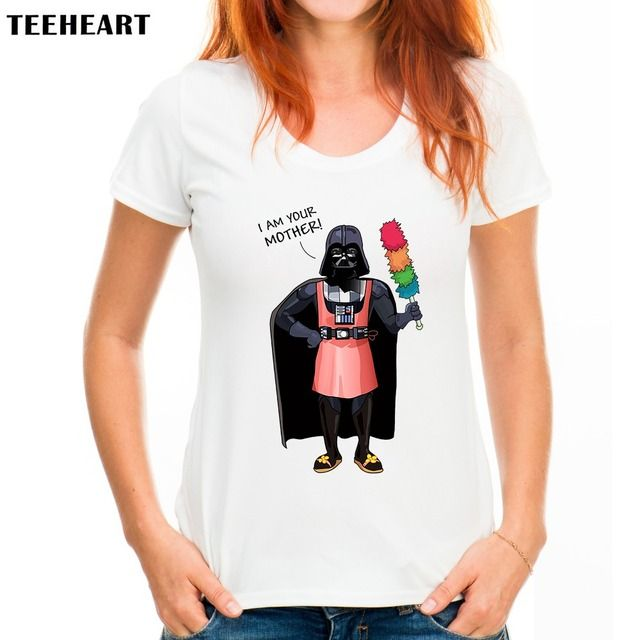 TEEHEART Women Summer Fashion T Shirts I am Your Mother  Short-sleeve  Darth Vader Top Tees px285