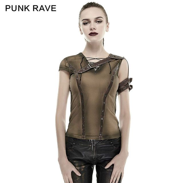 2016 New Punk Rock steam punk t shirt summer cotton brand quality visual kei top Fashion cyber blusa vintage harajuku style