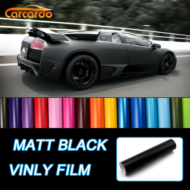 Carcardo 1.52Mx50cm Matt Black Vinyl Film Car Sticker Vinyl Wrap Matte Vinyl Car Stickers Car Wrap Matte Auto Sticker Car Vinyl