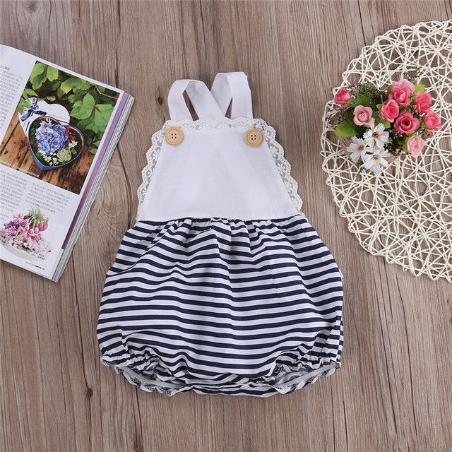 New Arrival Princess Style  Rompers Baby Girls playsuit  Lace Strappy Playsuit Polka Dot Backless Stripe Sunsuit Outfits