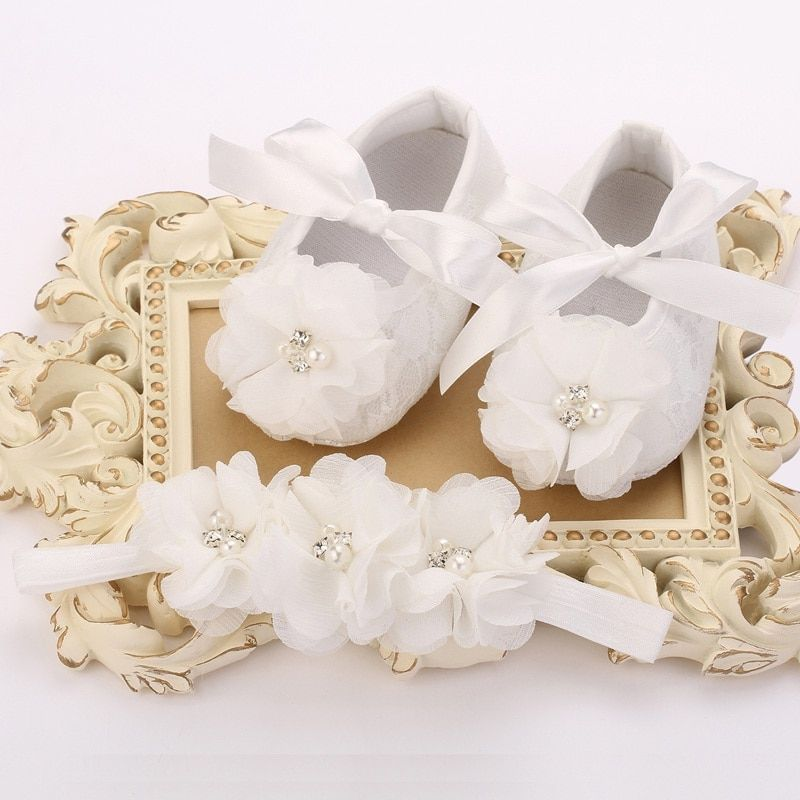 Ivory Christening Lace baby booties sapato bebe menina zapatillas festa baptism baby girl shoes Headbands set #2M2010 3 set/lot