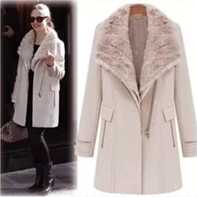 European fashion new winter two pieces vest style coat outerwear long wool coats with faux fur collar  (1 vest + 1 coat)