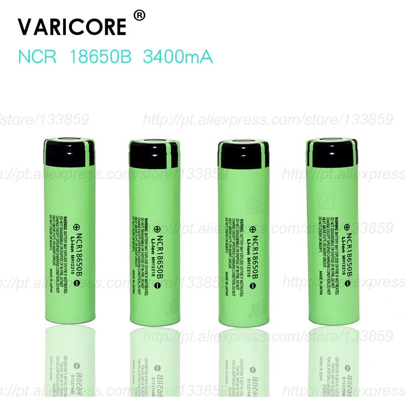 4 pcs 2017 new 18650 3400 MAH lithium battery 3.7 V ncr18650b 18650 rechargeable battery + free shopping