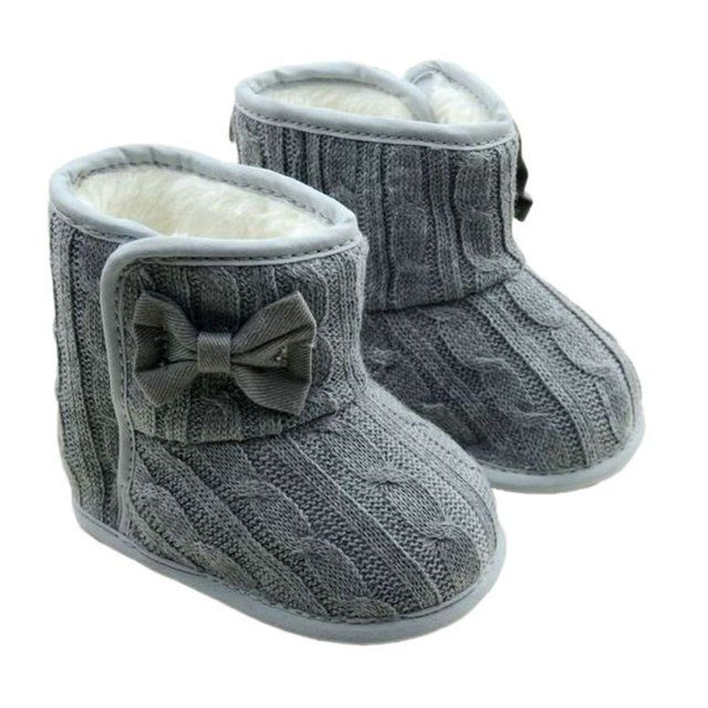Fashion Winter Toddler Infants Fleece Snow Boot Infant Knitting Bowknot Crib Shoes Baby Warm Booties