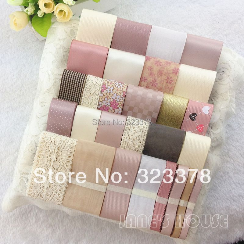 High quality Sweet pink ribbon set diy hair accessory material accessories kit bow hairpin cotton lace,printed,satin ribbon set