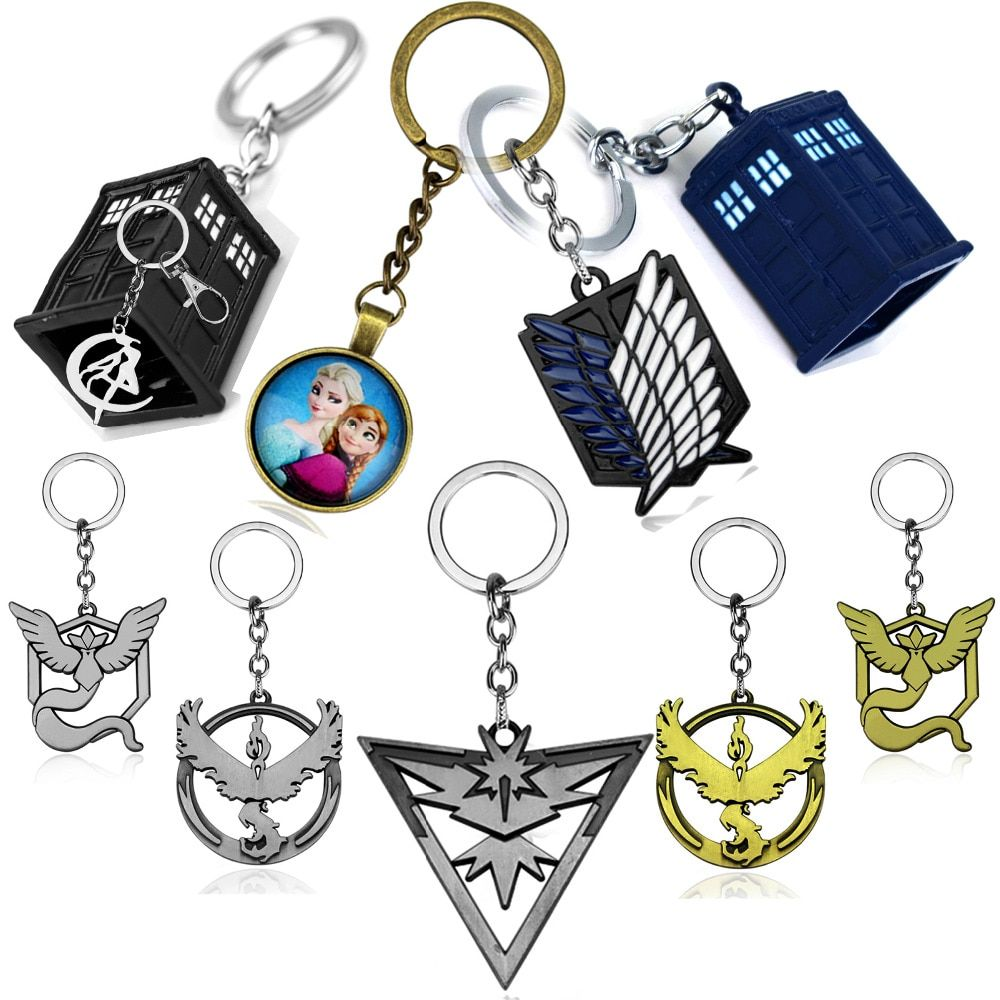 anime movie key chain Doctor Who pokemon Sailor moon Attack on Titan dota2 Weapon key chain Elsa keychain Halloween gifts