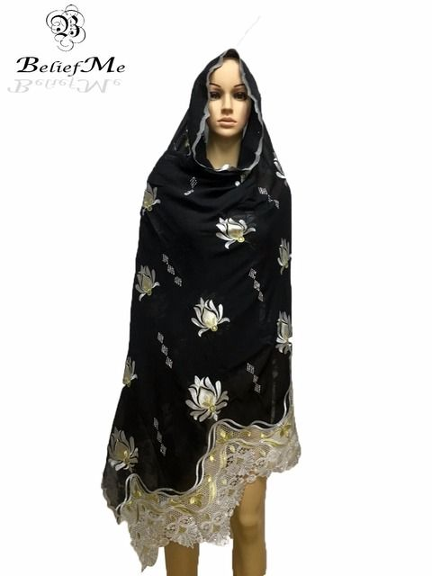 2017 Nice Muslim Women Embroidery Big Scarf ,black scarf for Shawls Wraps Pashmina ,Multifunctional scarf