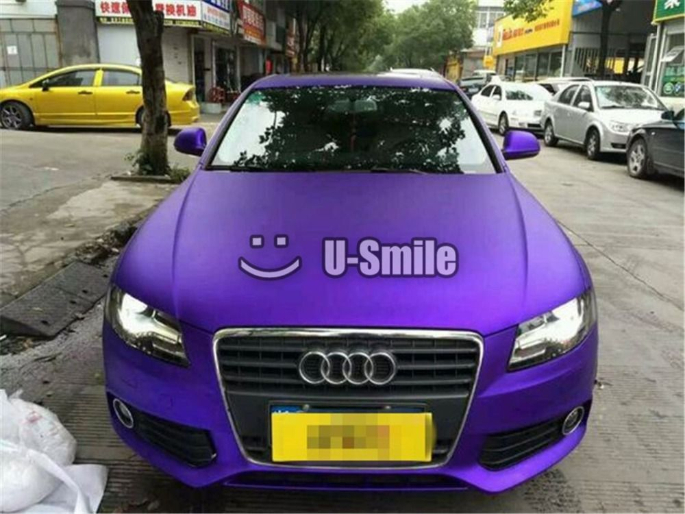 Premium Violet Matte Satin Metallic Purple Vinyl Wrap Film Roll Sticker Bubble Free Car Styling