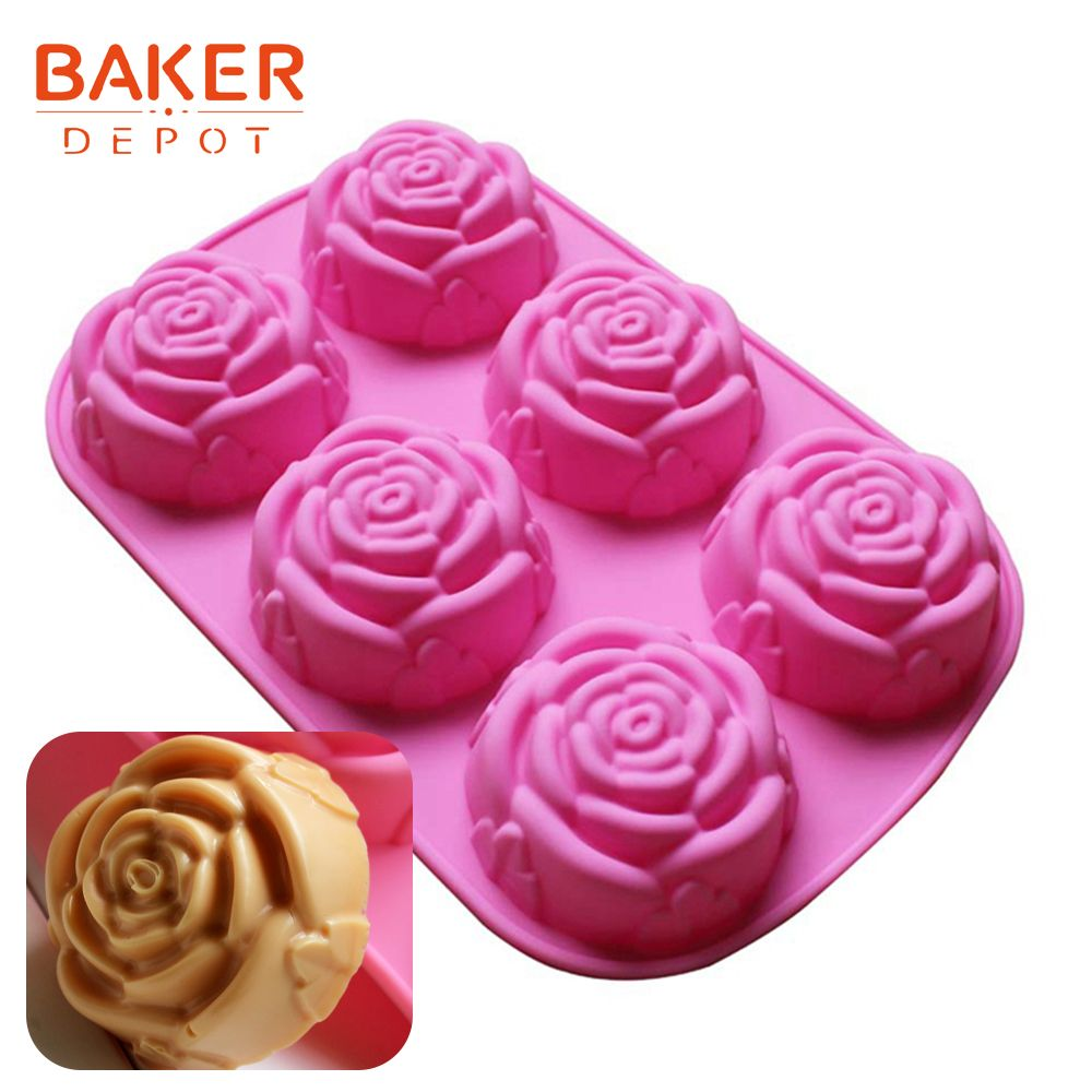 Rose shape silicone soap mold flower cake pudding molds silicone baking bakeware tools ice candle biscuit pastry molds 6 hole