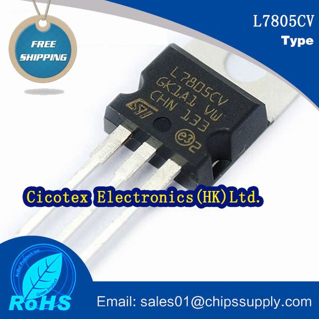 20pcs L7805CV Transistor integrated circuit chips TO-220 IC REG LDO 5V 1.5A TO220AB