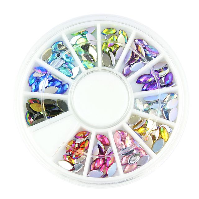 Blueness 12 Shiny Color Horse Eye Design Acrylic Wheel Glitter Rhinestone Manicure Tips For Charms 3D Nail Art Decorations ZP202