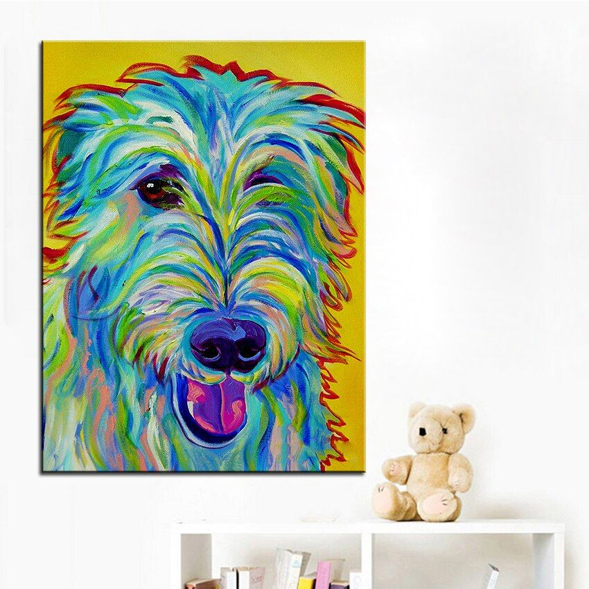 Large size Print Oil Painting irish wolfhound Wall painting Home Decorative Wall Art Picture For Living Room paintng No Frame