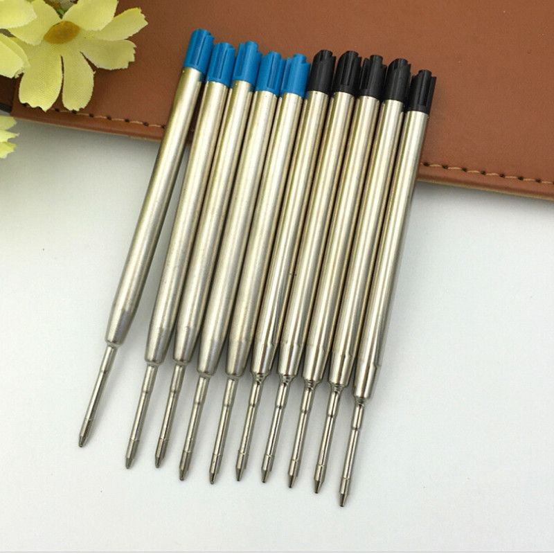 10pc/set Metal Smooth Ballpoint Pen Refills Office School Stationery Gifts Pen Black Blue Black Refills Pen Sale 0.5mm School