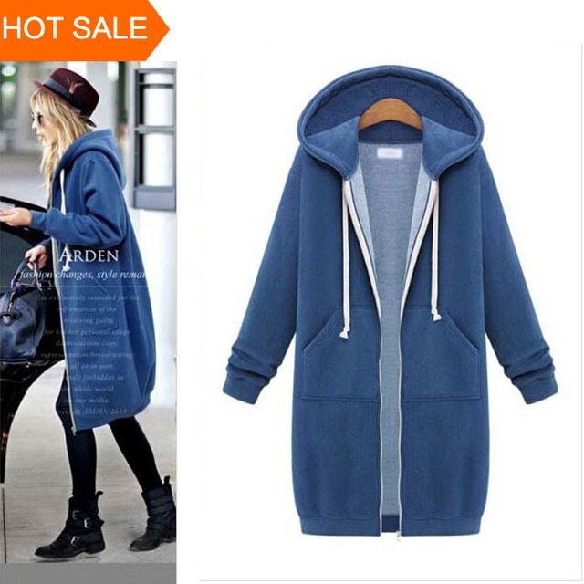 Women Long Hoodie Hooded Autumn Winter Loose Woman Hoodies Sweatershirt Plus Size Outerwear Suit Casual Long Coat Jacket