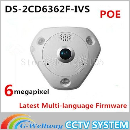 2016 Camaras De Seguridad Fast Free Shipping Ds-2cd6362f-ivs 6mp 360 Degree Panoramic View Ip66 Fisheye Ip Camera Cctv Security