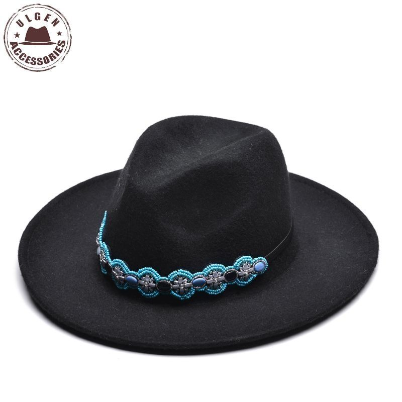 Ulgen Design Chapeu Wool Bowler Ladies Church Hats Black Stetson Fedora Hat with cool band Women's Dignity Retro Cap