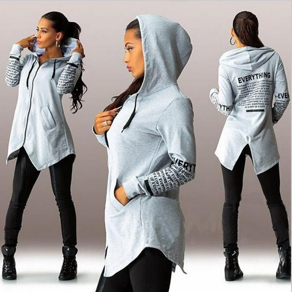 2016 Women Hoodies Casual Sweatshirts Letters Print Hooded Autumn Tops Zipper Irregular Top Women  Autumn Hoodies Jacket