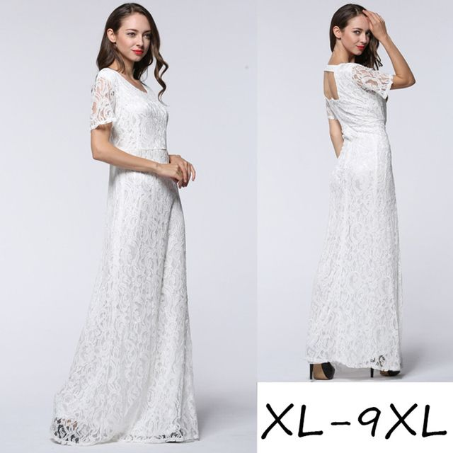 2018 Elegant Women Summer Lace Dress White Black O Neck Hollow Out Sexy Open Back Plus Size Club Party Dress Vestido de renda