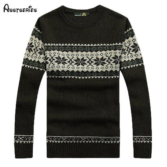 2018 Free Shipping Winter Mens Pullovers snow print  Sweaters Knitted Fabric Men Sweater Round Collar Sweater M~3XL 60
