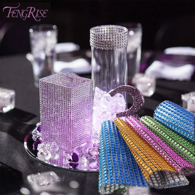 FENGRISE Wedding Decorations Baby Shower 1yd Mesh Trim Bling Diamond Crystal Rhinestone Roll Birthday Kids Party Supplies Crafts
