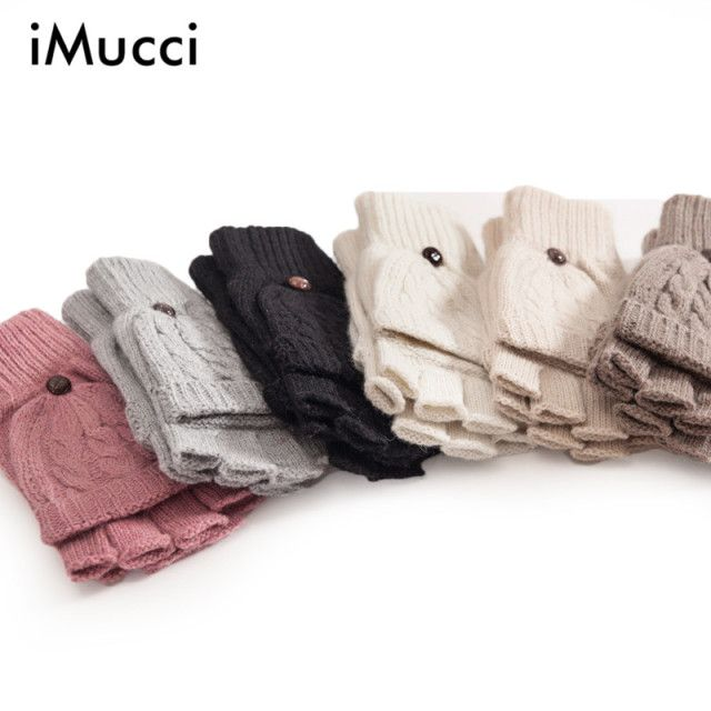 iMucci Warmer Winter Gloves Women Soft Crochet Knitting Faux Wool Mitten Half Finger Clamshell Touch Screen Snow Elk Glove