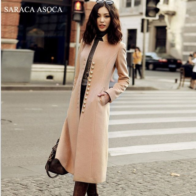 New Style elegant stand collar slim long overcoat women's black camel fashion autumn winter single breasted coat female